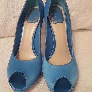 Dior tiffany blue peep toe pumps